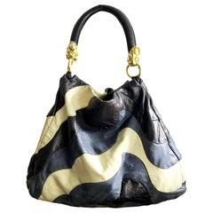 2000s miu miu Multicolor Blue Leather Stone Shoulder Bag