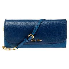 Miu Miu Two Tone Blue Leather Logo Flap Wallet on Chain