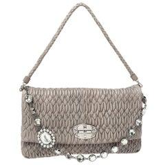 Miu Miu Two Tone Grey Matelassé Leather Crystal Flap Shoulder Bag