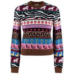 Miu Miu Virgin Wool Multi-Colour Patterned Jumper - Size US 0