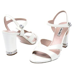 Miu Miu White Leather Ankle Strap Sandals Shoes With Heels & Rhinestones
