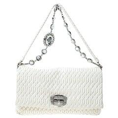 Miu Miu White Matelassé Leather Crystal Flap Shoulder Bag