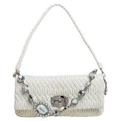 Miu Miu White Matelasse Leather Crystal Shoulder Bag