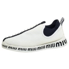 Miu Miu White Mesh Crystal Embellished Slip On Sneakers Size 39.5