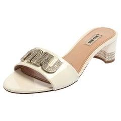 Miu Miu White Patent Leather Embellished Sandals Size 37.5
