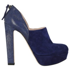 Miu Miu Woman Ankle boots Navy Leather IT 37