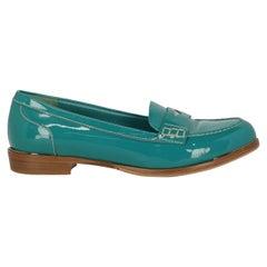 Miu Miu Woman Loafers Green Leather IT 37.5
