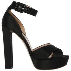 Miu Miu Woman Sandals Black Fabric IT 39