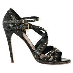 Miu Miu Woman Sandals Black Leather IT 40