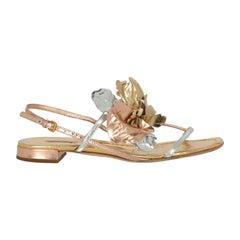 Miu Miu Woman Sandals Bronze Leather IT 36.5