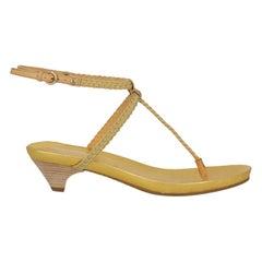 Miu Miu Woman Sandals Gold Leather IT 36.5