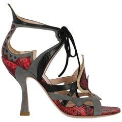 Miu Miu Woman Sandals Grey, Red IT 36.5