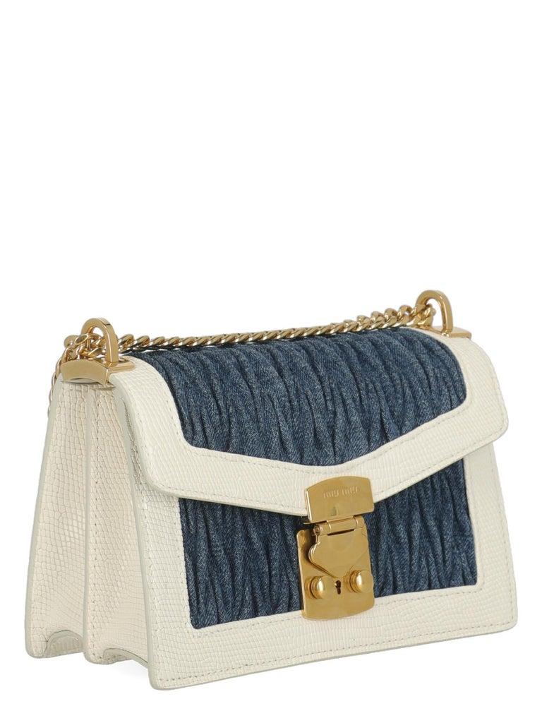 Beige Miu Miu Woman Shoulder bag  Blue Fabric, Leather For Sale