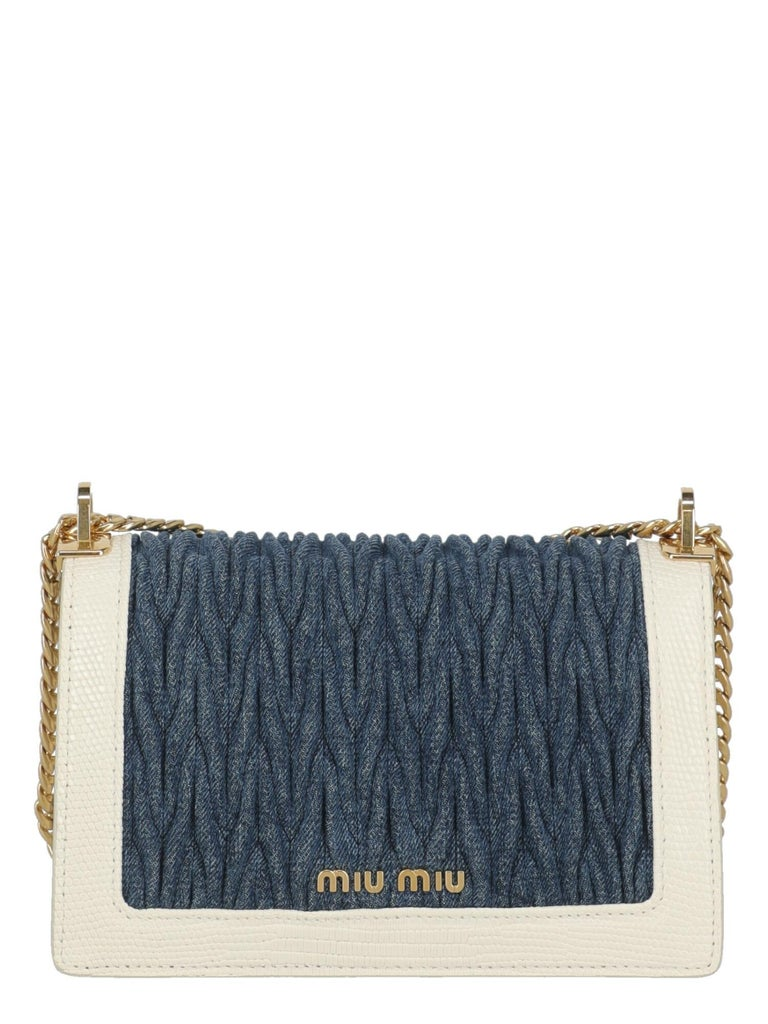 Miu Miu Woman Shoulder bag  Blue Fabric, Leather In Excellent Condition For Sale In Milan, IT