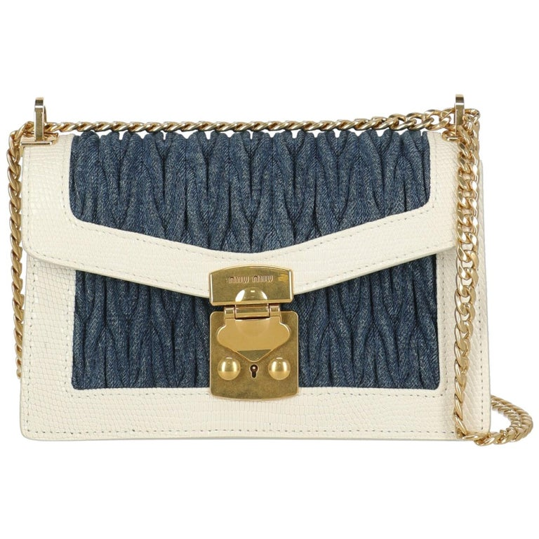 Miu Miu Woman Shoulder bag  Blue Fabric, Leather For Sale