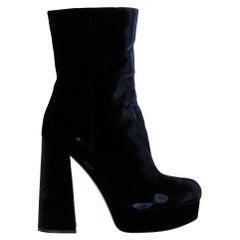 Miu Miu  Women   Ankle boots  Navy Fabric EU 39