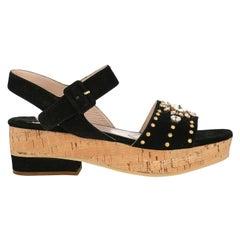 Miu Miu  Women   Sandals  Black Leather EU 40