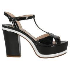 Miu Miu Women  Sandals Black Leather IT 38