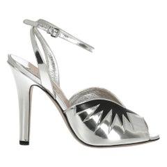 Miu Miu  Women   Sandals  Black, Silver Leather EU 40