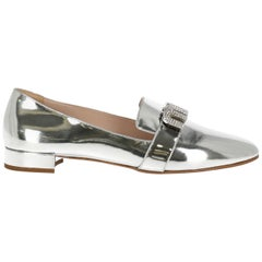 Miu Miu Women's Loafers Silver Leather IT 40