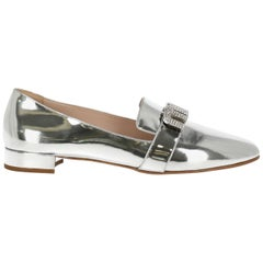 Miu Miu Women's Loafers Silver Leather IT 40.5