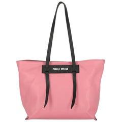 Miu Miu Women's Tote Bag Black/Pink Leather