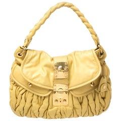 Miu Miu Yellow Matelasse Leather Coffer Hobo