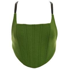 Miuccia Prada green wool tweed and nylon corset top, fw 1999