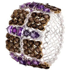 Mix Cut and Semi-Precious Stones Rhodium and Gold-Plated Bracelet