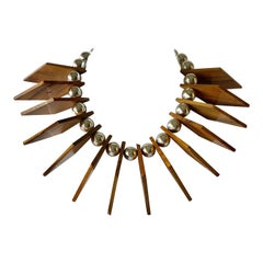 Mix Material Architectural  Statement Necklace Circa 1980