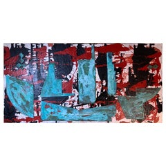 Mix-Media Acrylic Abstract Painting, Sea Sand, Reclaim Copper