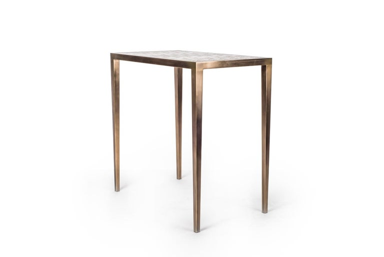 Art Deco Mix Media Nesting Table L in Shagreen/Shell, Bronze-Patina Brass by R&Y Augousti For Sale