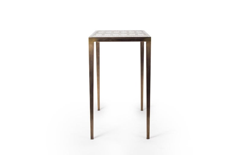 French Mix Media Nesting Table L in Shagreen/Shell, Bronze-Patina Brass by R&Y Augousti For Sale
