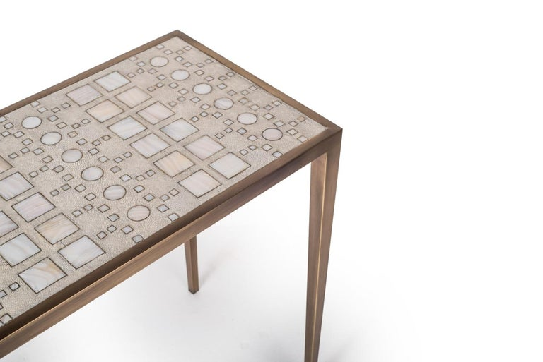 Hand-Crafted Mix Media Nesting Table L in Shagreen/Shell, Bronze-Patina Brass by R&Y Augousti For Sale