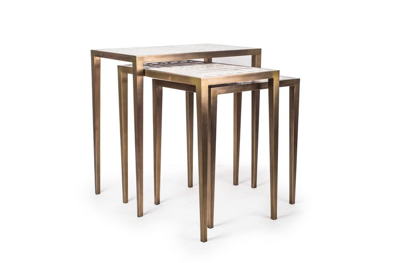 Contemporary Mix Media Nesting Table L in Shagreen/Shell, Bronze-Patina Brass by R&Y Augousti For Sale