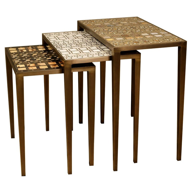 Mix Media Nesting Table L in Shagreen/Shell, Bronze-Patina Brass by R&Y Augousti For Sale
