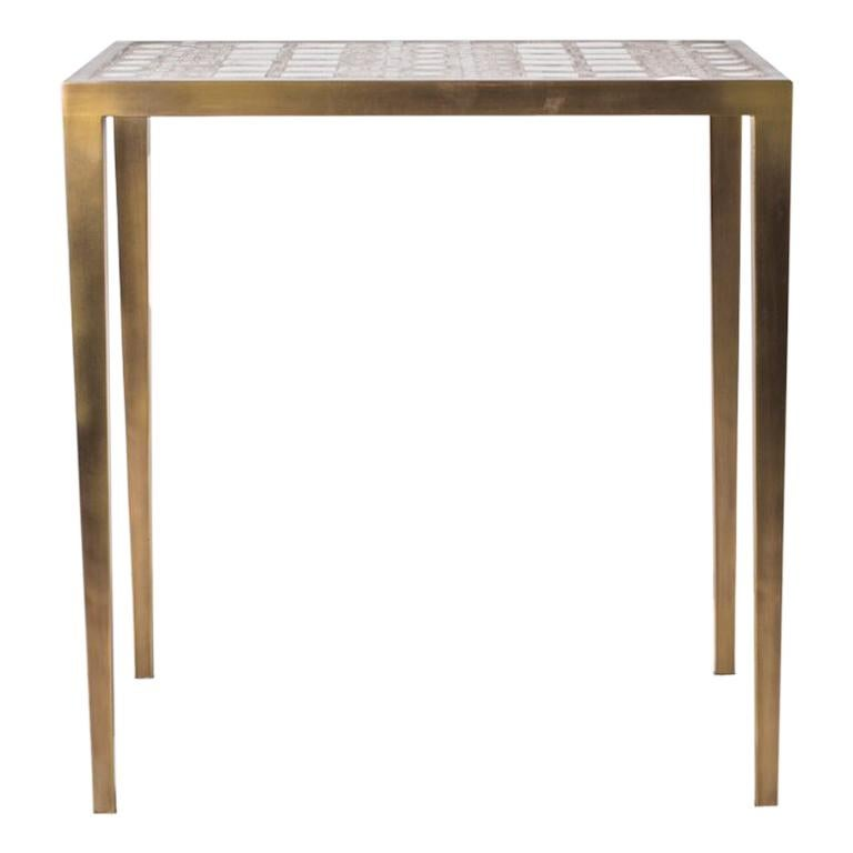 Mix Media Nesting Table M in Shagreen/Shell, Bronze-Patina Brass by R&Y Augousti