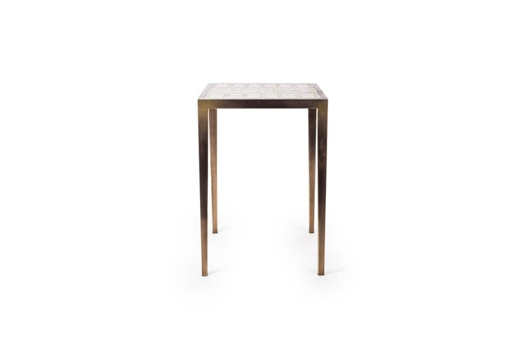 Art Deco Mix Media Nesting Table S in Shagreen/Shell, Bronze-Patina Brass by R&Y Augousti For Sale