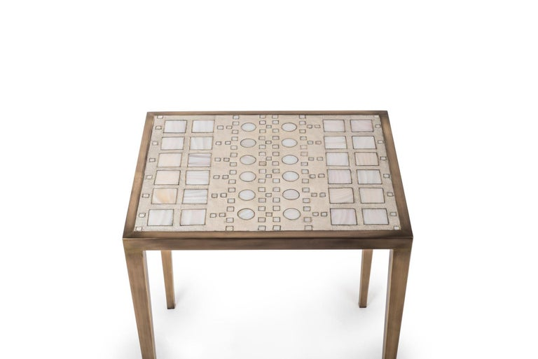 French Mix Media Nesting Table S in Shagreen/Shell, Bronze-Patina Brass by R&Y Augousti For Sale