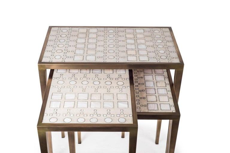 Contemporary Mix Media Nesting Table S in Shagreen/Shell, Bronze-Patina Brass by R&Y Augousti For Sale