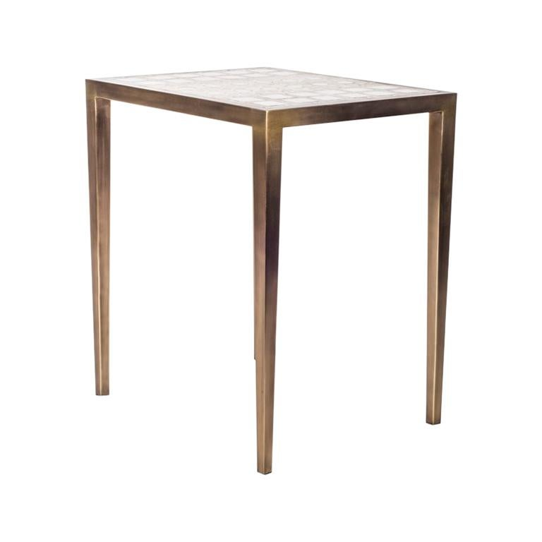 Mix Media Nesting Table S in Shagreen/Shell, Bronze-Patina Brass by R&Y Augousti