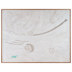 Mix-Media Plaster White Relief Abstract Painting