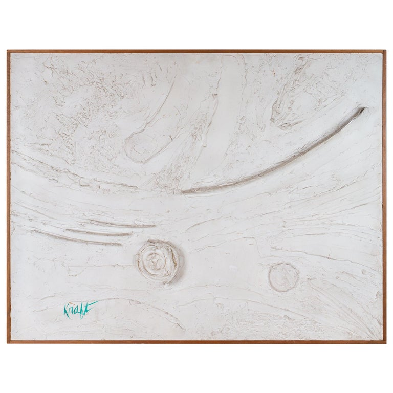 Mix-Media Plaster White Relief Abstract Painting For Sale