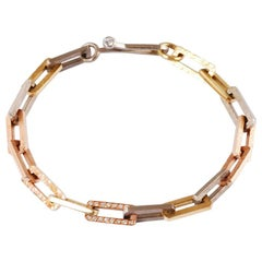 Mixed 18 Karat Gold Rectangular Link Bracelet with Brilliant Cut Diamonds