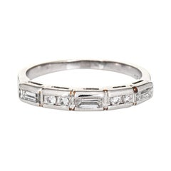 Mixed Cut Diamond Band Vintage Platinum Wedding Ring Estate Jewelry