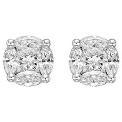 Mixed-Cut Diamond Cluster Earstuds '0.68 Carat'