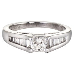 Mixed Cut Diamond Engagement Ring Platinum Vintage Bridal Jewelry Estate