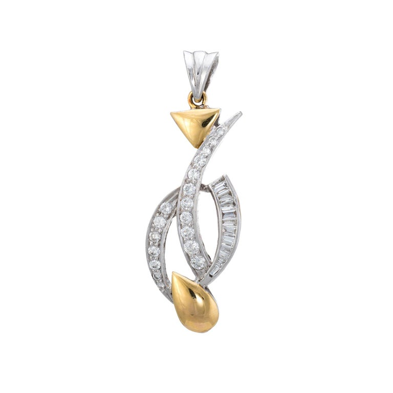 Mixed Cut Diamond Pendant Estate 18 Karat Two-Tone Gold Fine Vintage Jewelry For Sale