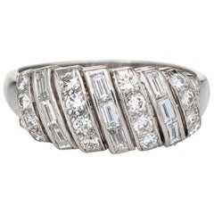Mixed Cut Diamond Ring 50s Vintage Platinum Mid Century Anniversary Band