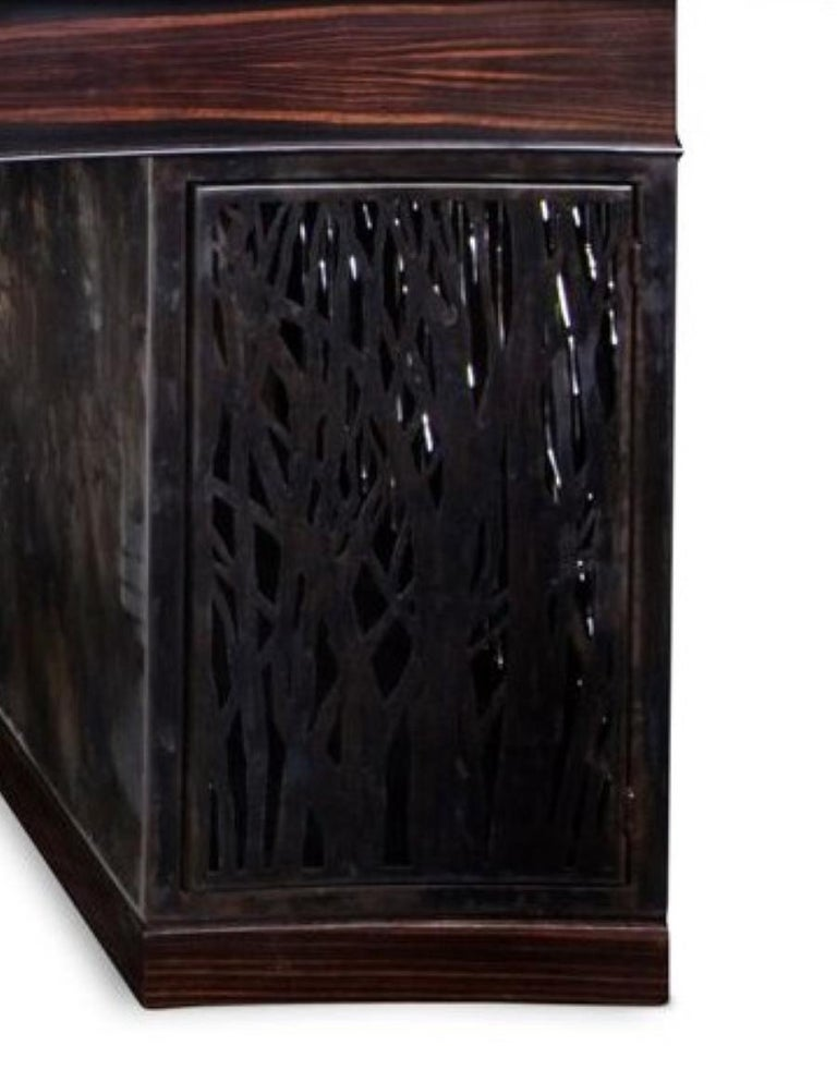 American Mixed-Media Crescent Shaped Desk in Macassar Ebony and Blackened Steel For Sale